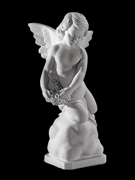 Marble Boy Angel with Flower Garden Statue  DSF-EB58