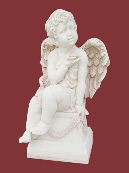 Seated Boy Angel Garden Marble Statue DSF-EB68