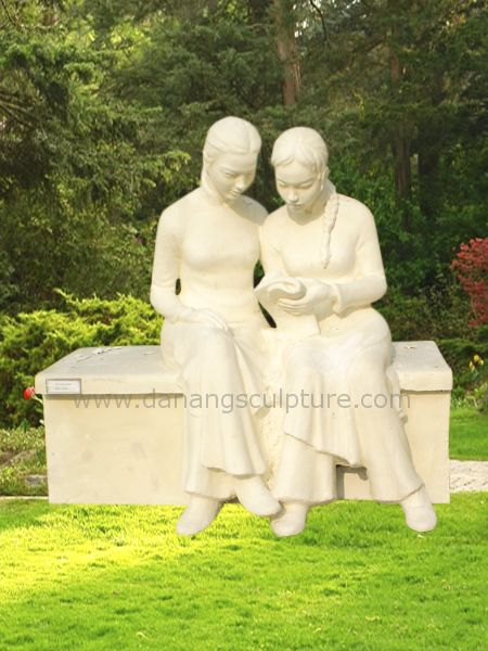 Reading Girls Garden Stone Statue