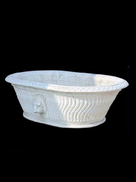 Solid White Marble Oval Bathtub With Lion Head DSF-BT40