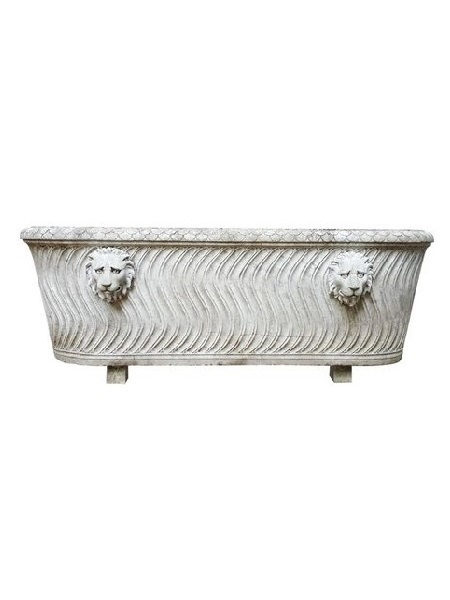 Lion Head Solid White Marble Oval Bathtub DSF-BT49