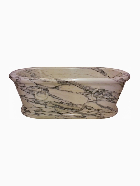 Oval White Grey Marble Bathtub DSF-BT18